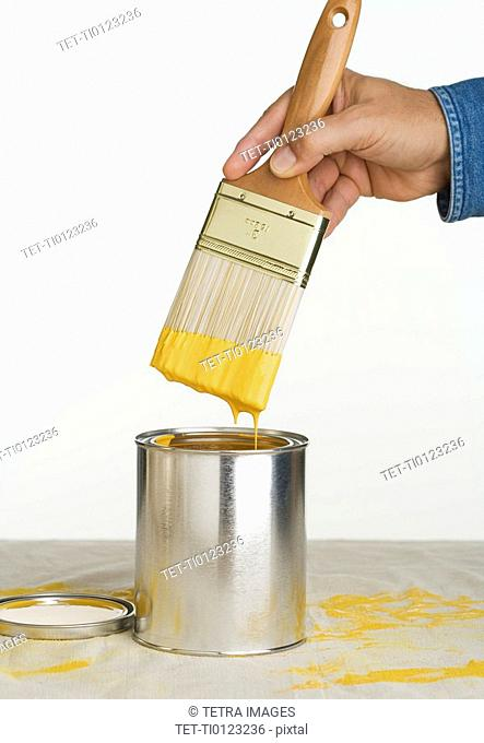 Close up of man dipping paintbrush in paint can