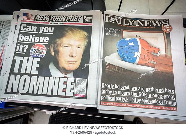 New York newspapers on Wednesday, May 5, 2016 report on the previous day's Indiana primary and Ted Cruz dropping out making Donald Trump the presumptive...