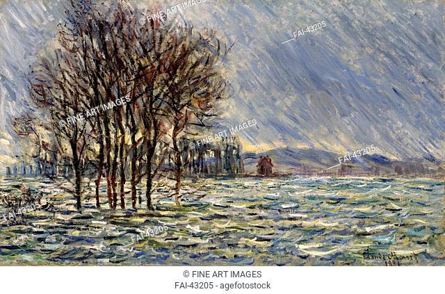 Flood Waters by Monet, Claude (1840-1926)/Oil on canvas/Impressionism/1881/France/Kunstsammlung Rau/Landscape/Painting/Hochwasser von Monet