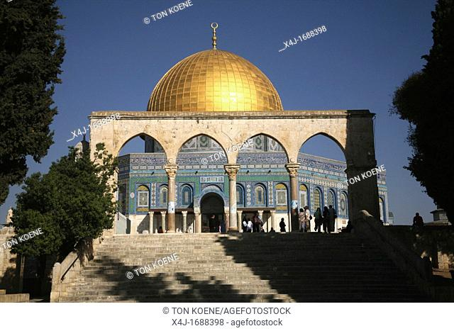 The Dome of the Rock on Temple Mount in the Old City of Jerusalem as seen from steps leading to the Temple Mount