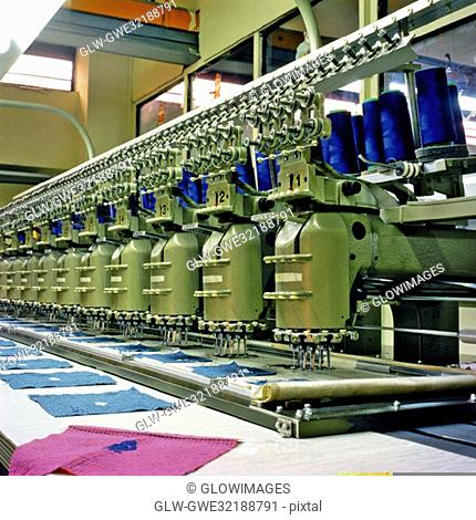 Towel manufacturing equipment in a factory