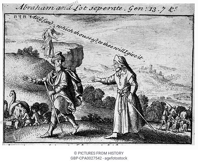 Israel / Palestine / Jordan: The separation of Abraham and Lot (Genesis 13, 7). Wenceslaus Hollar (1607-1677)