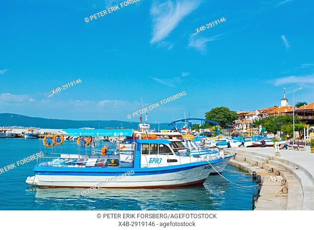 Boats for tourists, Port, on the north side of the peninsula, Nesebar, Black Sea coast, Bulgaria
