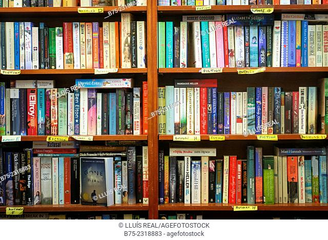 Shelves in a second-hand books store, of Fiction and from different authors. Howes, Yorkshire Dales, England, UK, Europe
