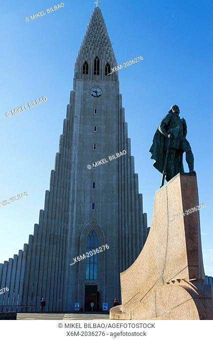Hallgrimskirkja and Leif Erikson statue. Reykjavik, Iceland, Europe