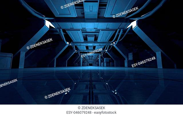 3D rendering of abstract dark blue sci fi futuristic space station or ship interior corridor design