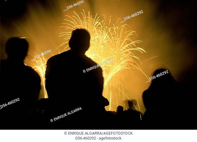 Fireworks. Cauce del Turia, Valencia, Spain
