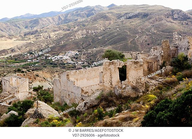 Marchalico Viñicas, abandoned village in gypsum karst of Sorbas with La Herreria at bottom. Almeria province, Andalucia, Spain