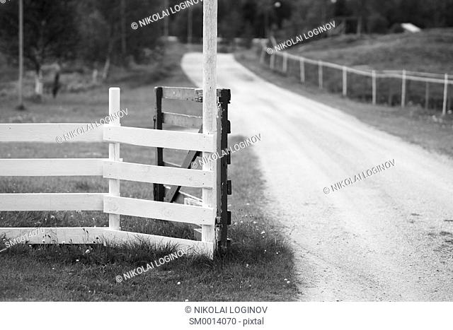 Norway opened farm fence gate background hd