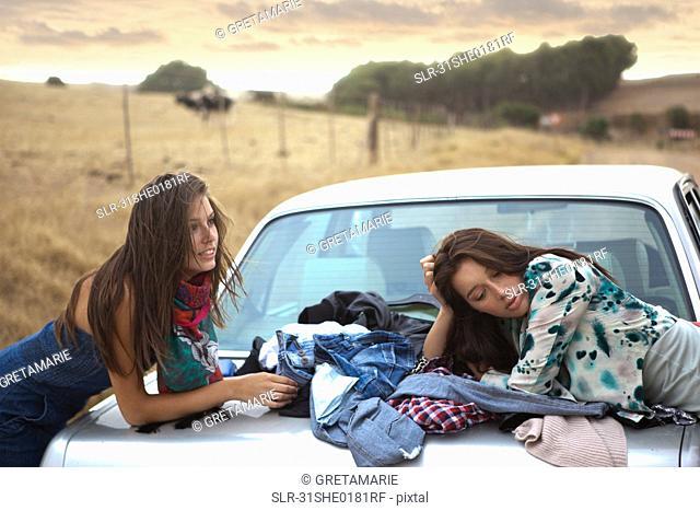 Two girls waiting