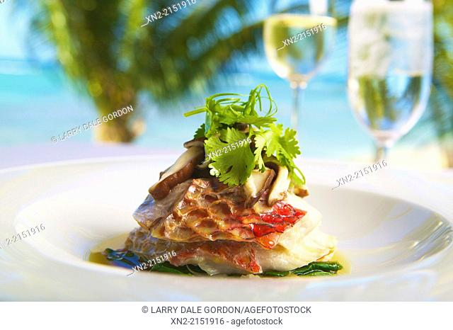 Grilled Sea Bass Served Alfresco