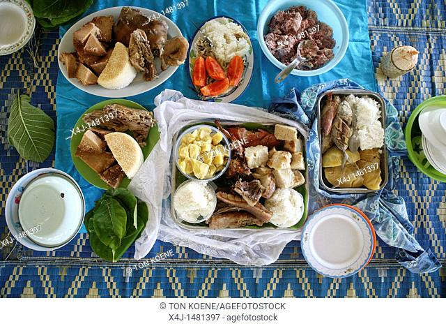 fish meal on Tuvalu, island in the Pacific