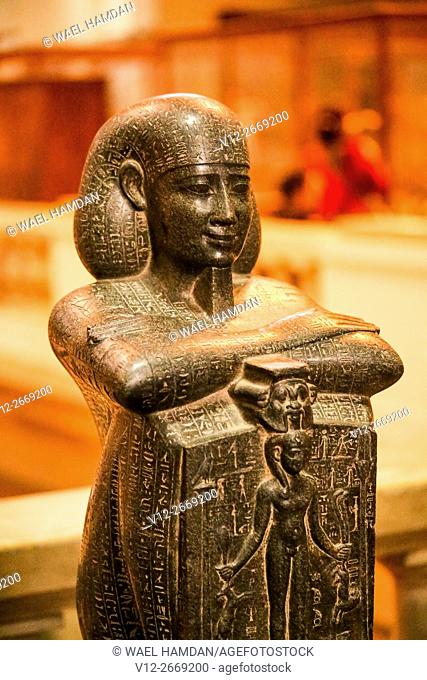 Block statue of Djedher, a fourth century official and sage, in the form of a temple guard, Known as Djedher the saviour, Egyptian Museum, Cairo, Egypt