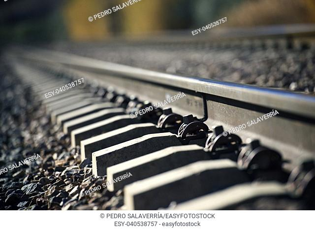 Close up of a railway line in Zaragoza Province, Spain