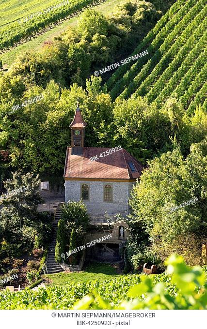 Lourdeskappelle in Escherndorf, Volkach, Franconia, Lower Franconia, Franconia, Bavaria, Germany