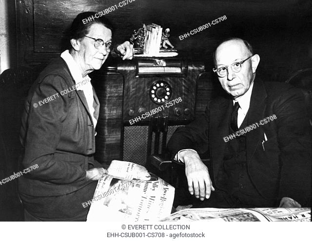Parents of the wounded union leader Walter Reuther, listened for news of their son on the radio. April 22, 1948. Mrs. Valentine Reuther