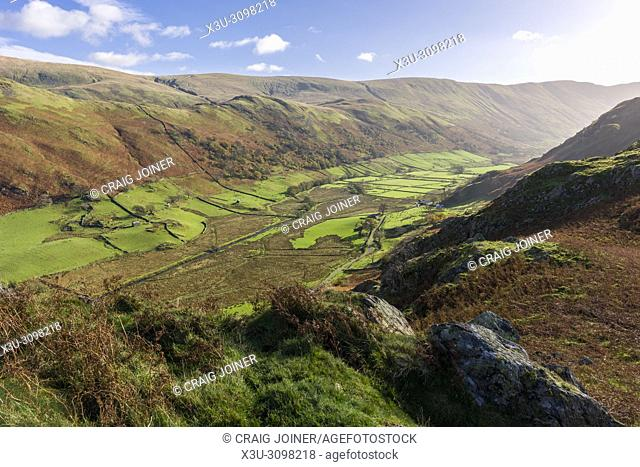 The view along the Martindale valley from the northern end of Beda Fell in the Lake District National Park, Cumbria, England