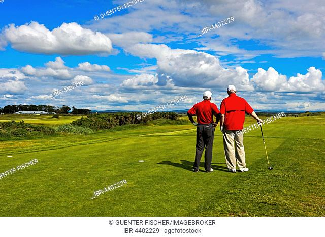 Two golfers on the Jubilee Course, St Andrews Links, St Andrews, Fife, Scotland, United Kingdom