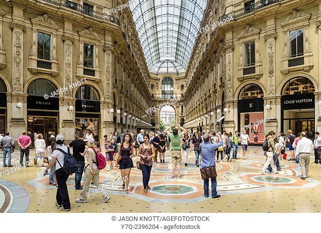 Indoor shopping arcade of the Galleria Vittorio Emanuele II, Milan, Italy