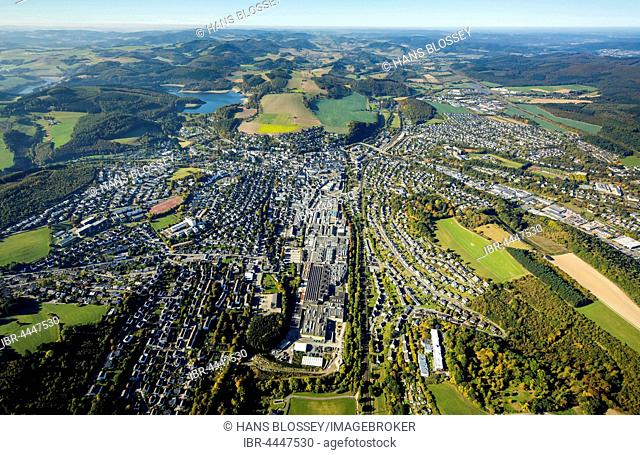 View of Meschede from 1,000 meters above, aerial, Meschede, Sauerland, North Rhine-Westphalia, Germany