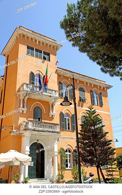 City hall building Monterosso al Mare village in famous Cinque Terre, Ligurian sea La Spezia Italy