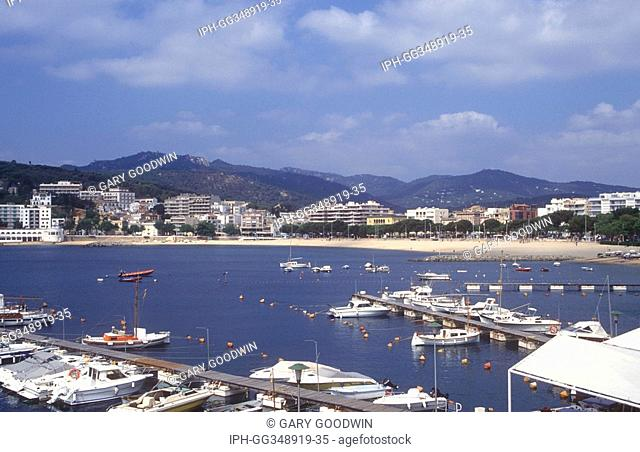 View over the harbour and resort of Sant Feliu de Guixois on the Costa Brava