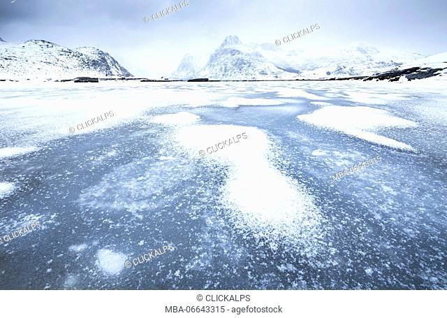 Frozen lake, Lofoten Islands, Norway