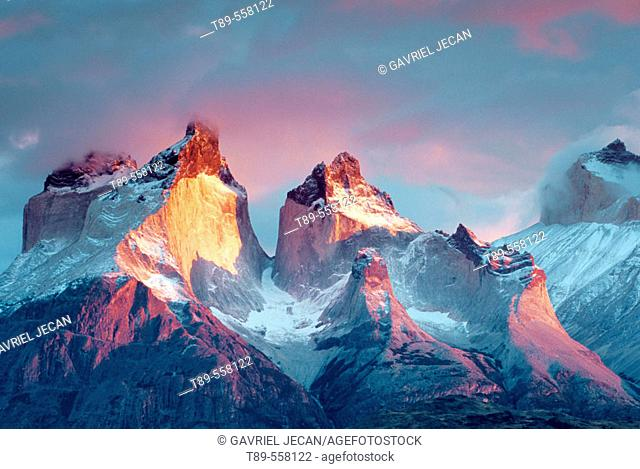 South America, Chile, Patagonia Torres del Paine National Park Cuernos del Paine at sunrise