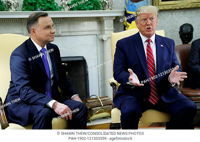US President Donald J. Trump (R) and Polish President Andrzej Duda (L) during a meeting in the Oval Office of the White House in Washington, DC, USA