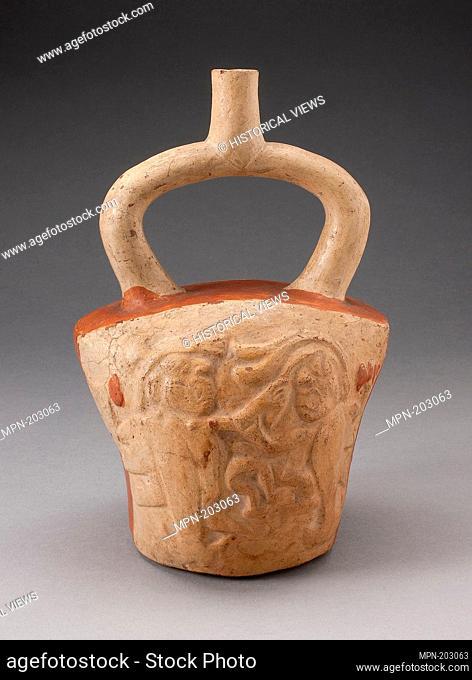 Stirrup Vessel Incised with Supernatural Battle Scene - 100 B.C./A.D. 500 - Moche Chimbote, Santa Valley, north coast, Peru - Artist: Moche, Origin: Peru