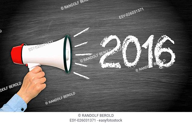 2016 megaphone with hand - New Year