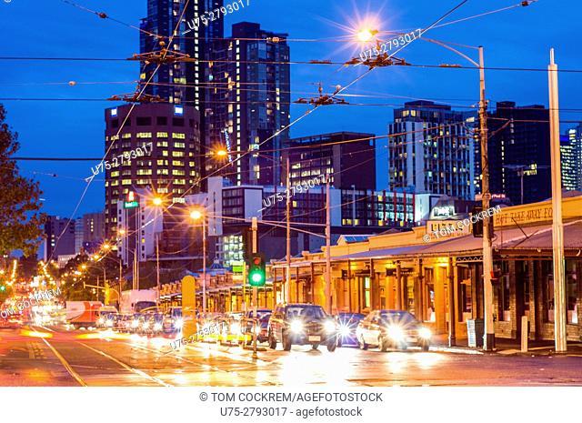 Victoria Street at dusk, North Melbourne, Victoria, Australia