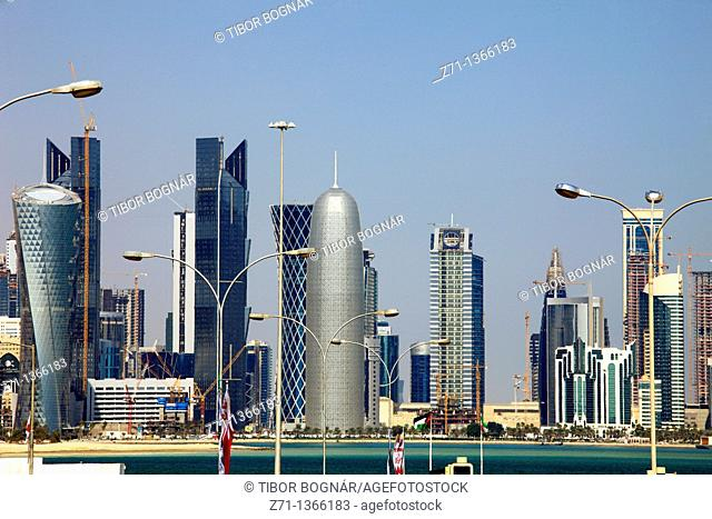 Qatar, Doha, skyline, skyscrapers, general view