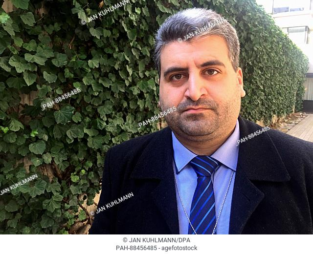 Wail Olwan, speaker for the Syrian rebel group Faylaq al-Rahman, in Geneva, Switzerland, 24 February 2017. 'War criminals will not be allowed to play a role in...