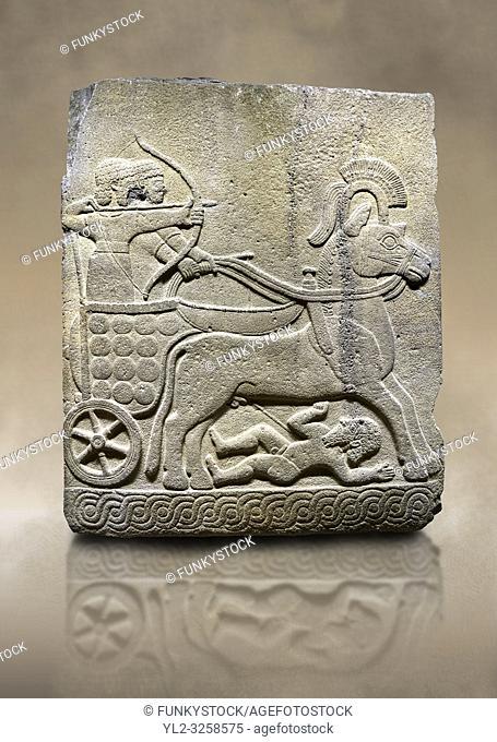 Photo ofHittite relief sculpted orthostat stone panel of Long Wall Basalt, Karkamis, (Kargamis), Carchemish (Karkemish), 900 - 700 B.C