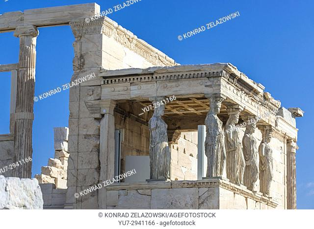 Porch of Caryatids, part of Erechtheion ancient Greek temple dedicated to Athena and Poseidon, on north side of Acropolis of Athens city, Greece