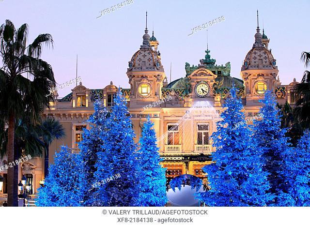 Christmas decoration to the Place du Casino of Monaco, Principality of Monaco, Côte d'Azur