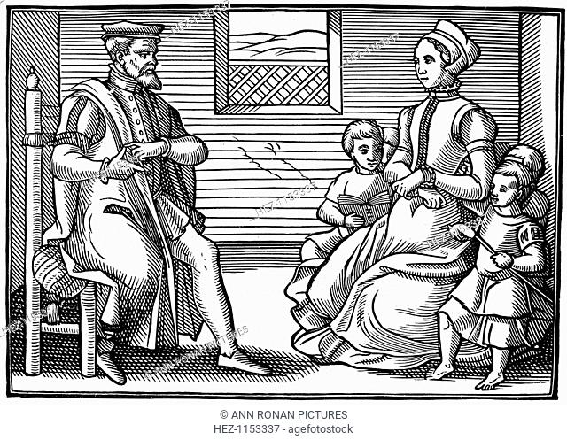 A Puritan Family - father teaching his family to sing Psalms rather than vayne and tryflying ballades, 1563. From the position of his hands it seems he is using...