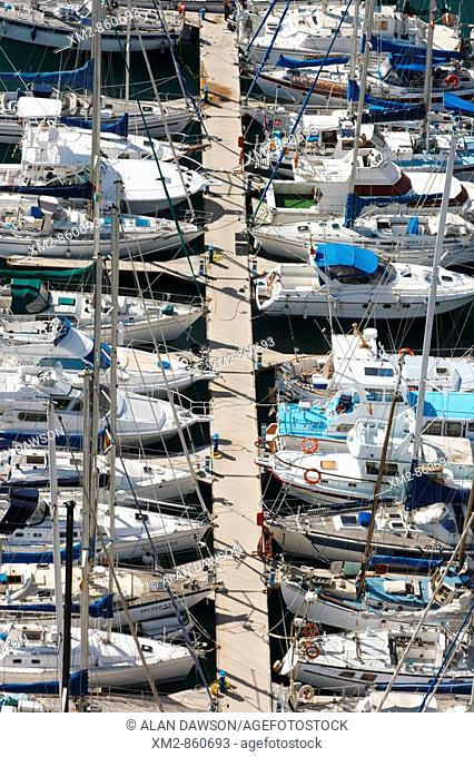 Aerial view of yachts in San sebastian marina on La Gomera in The Canary islands