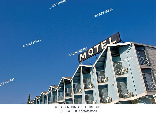 Motel with balconies, Coulee Dam town, Washington USA