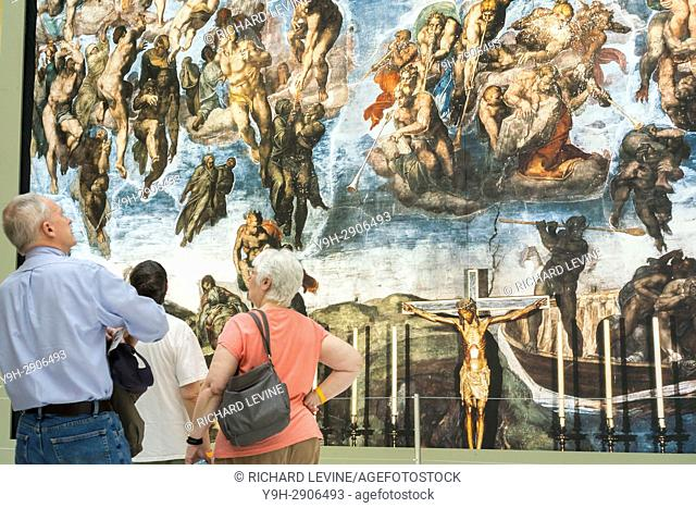 Near life-size reproductions of Michelangelo's Sistine Chapel frescoes are seen on display in the Oculus in the World Trade Center Transportation Hub in New...