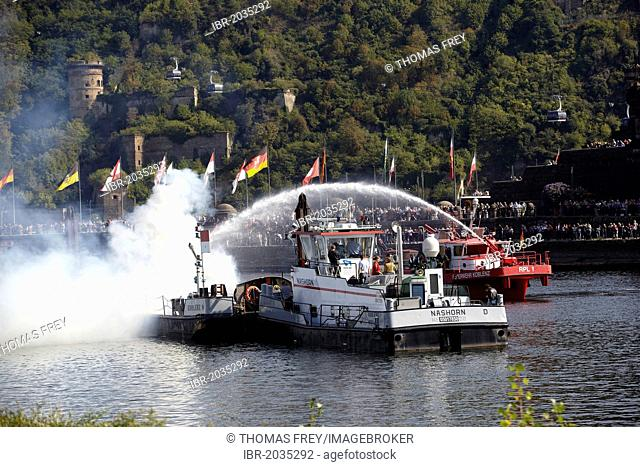Fire-fighting exercise on the water with fire-fighting boat RLP-1, Koblenz, Rhineland-Palatinate, Germany, Europe