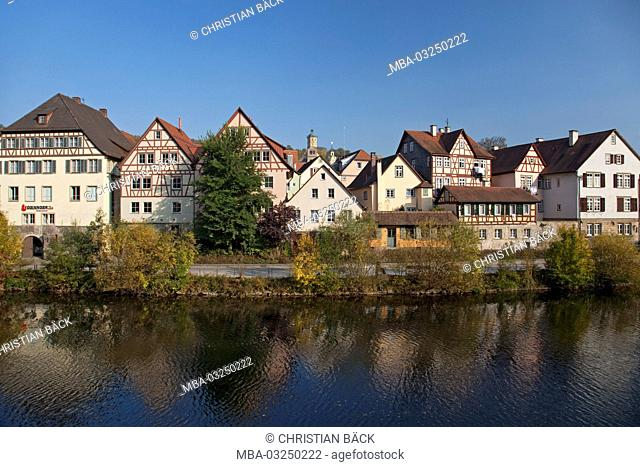View to the Old Town, Schwäbisch Hall, Baden-Wurttemberg, Germany