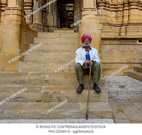 Man at Jain temple in Jaisalmer, Rajasthan