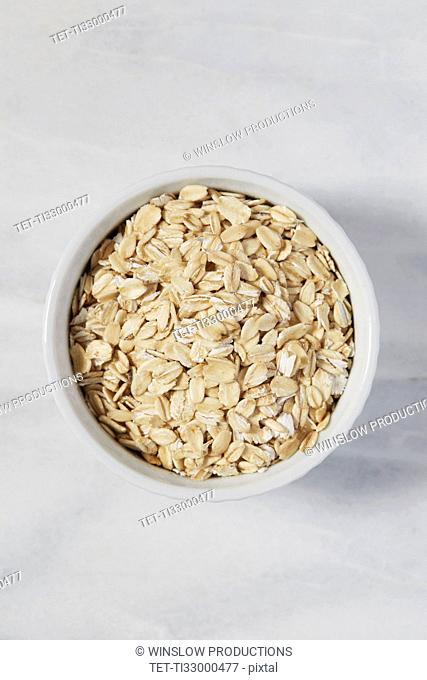 Overhead view of oats in bowl