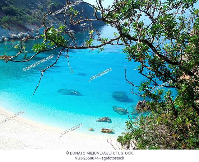 Lefkada Island, Ionian Sea, Greece, Agiofili Beach near Vasiliki, panoramic view