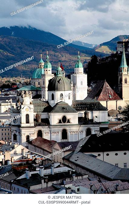 Salzburg cathedral overlooking rooftops
