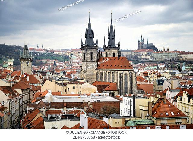 Czech Republic, Prague, historic centre listed as World Heritage by UNESCO, the Old Town (Stare Mesto), the Church of Our Lady Before Tyn and St Vitus Cathedral...