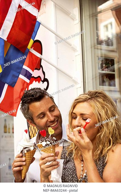 A couple having ice cream, Copenhagen, Denmark