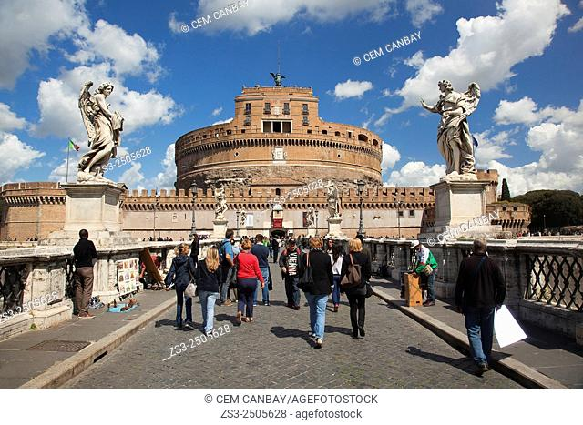 Statues and tourists at the bridge, Castel Sant' Angelo, Vatican City, Rome, Italy, Europe